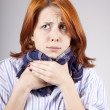 Ill red-haired girl with scarf — Stock Photo