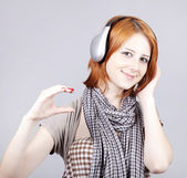 Girl with modern headphones. — Stock Photo