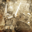 Knight fight. Photo in old image style. — Stock Photo