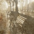 Benches in central garden, OdessUkraine. Photo in old image style. — Stock Photo #3479033