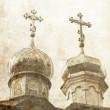 Two crosses on church — Stock Photo