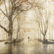 Walking through the fog. Photo in old image style. - Stock Photo