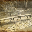 Stock Photo: Two Park Benches. Photo in old image style