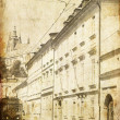 Old Prague streets. Photo in old image style. — Stock Photo