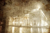 Central alley and supermhall in Odessa, Ukraine. Photo in old image style. — Stock Photo