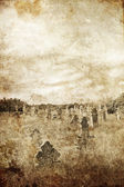 Cemetery in village. Photo in old image style. — Stock Photo