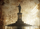 Duc de Richelieu statue in Ukraine, Odessa. Photo in old image style. — Stock Photo