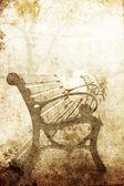 Mostra a panchina nel parco. foto nel vecchio stile di immagine. — Foto Stock