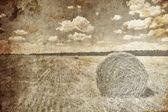 Gyllene balar på landsbygden. foto i gammal bild stil. — Stockfoto