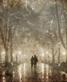 Couple walking at alley in night lights. Photo in vintage yellow style. — Stock Photo