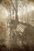 Benches in central garden, Odessa Ukraine. Photo in old image style. — Stock Photo