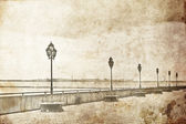 Lamps alley near sea. Odessa, Photo in old image style. — Stock Photo
