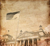 The Reichstag building in Berlin: German parliament. Photo in old image sty — Stock Photo