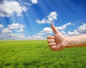 Farmers hand symbolizes a good harvest — Stock Photo