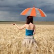 Girl with umbrella at field in rainy day. — Stock Photo #3569270