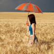 Girl with umbrella at field in rainy day. — Stock Photo #3569364