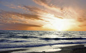 Senset sur mer. photo d'arrière-plan. — Photo
