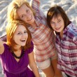 Portrait of three beautiful girls. With counter light on backgro — Stock Photo #3735589
