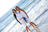 Two sisters on the beach. — Stock Photo