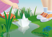 Children start a paper ship on a stream. — Stock Vector