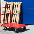 Red hand truck — Stock Photo