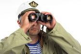 Seaman with binoculars — Stock Photo