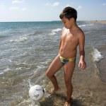 Boy playing soccer — Stock Photo #3418728