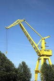 Yellow harbor crane — Stock Photo