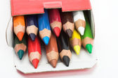 Color pencils in the box — Stock Photo