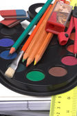 School supplies close-up — Stockfoto