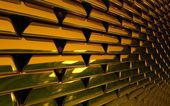 Wall from gold ingots — Stock Photo