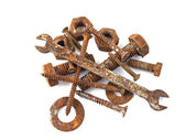 Rusty nuts, bolts, screws and spanner — Stock Photo