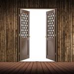 Wooden room and the door is empty — Stock Photo