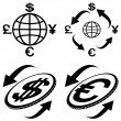 Stock Vector: Icons of financial symbols