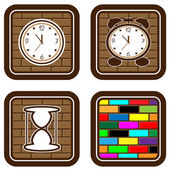 Brick web buttons with icons of time — Stock Vector