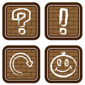 Brick buttons with icons of graphic sym — Stock Vector