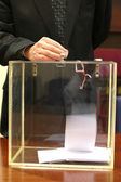Ballot box and hand putting a ballot in — Stock Photo