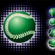 Green baseball and haftone — Stock Vector
