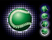 Green baseball and haftone — Stock Vector