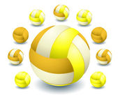 A lot of Yellow voleyballs — Stock Vector