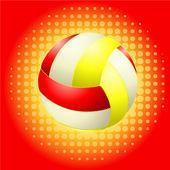 Czerwony voleyballs i haftone — Wektor stockowy
