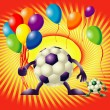 Two funny footballs and balloons - Stock Vector