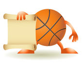 Funny orange basketball with paper — Stock Vector