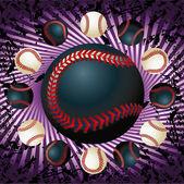 Baseballs and violet lines grunge — Stock Vector