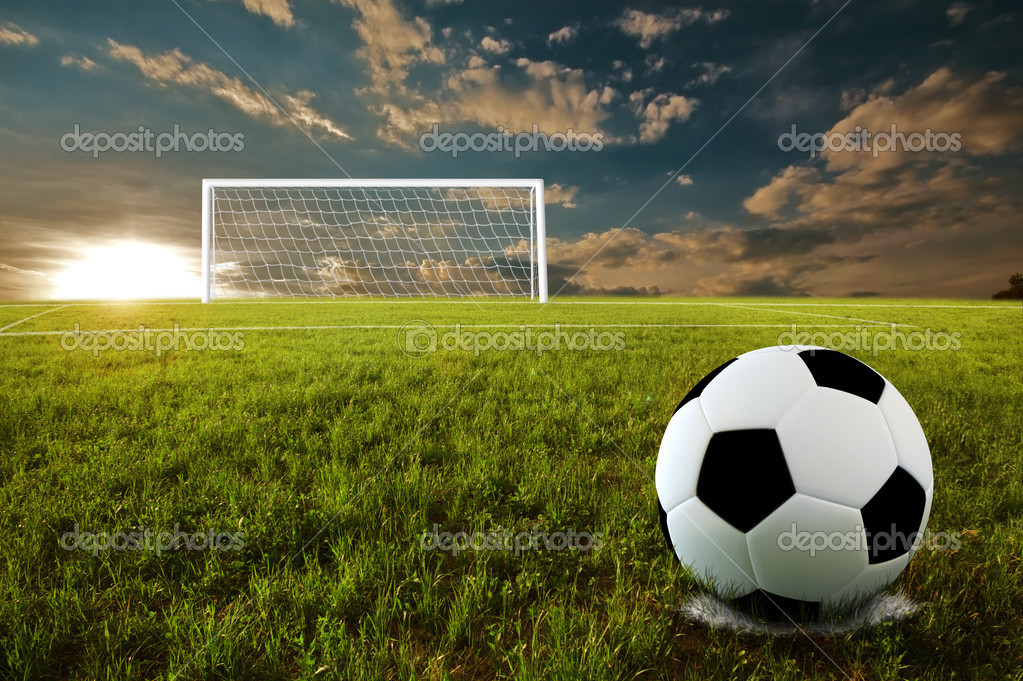 Soccer ball on penalty disk in sunset time — Foto de Stock   #2729162
