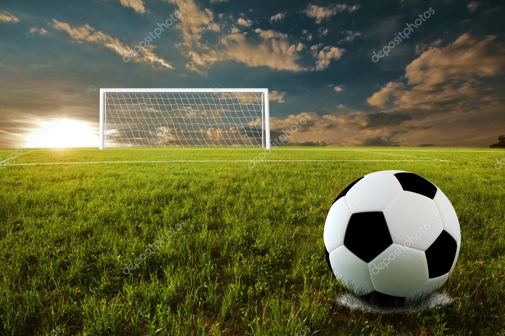 Soccer ball on penalty disk in sunset time — Stock Photo #2729162