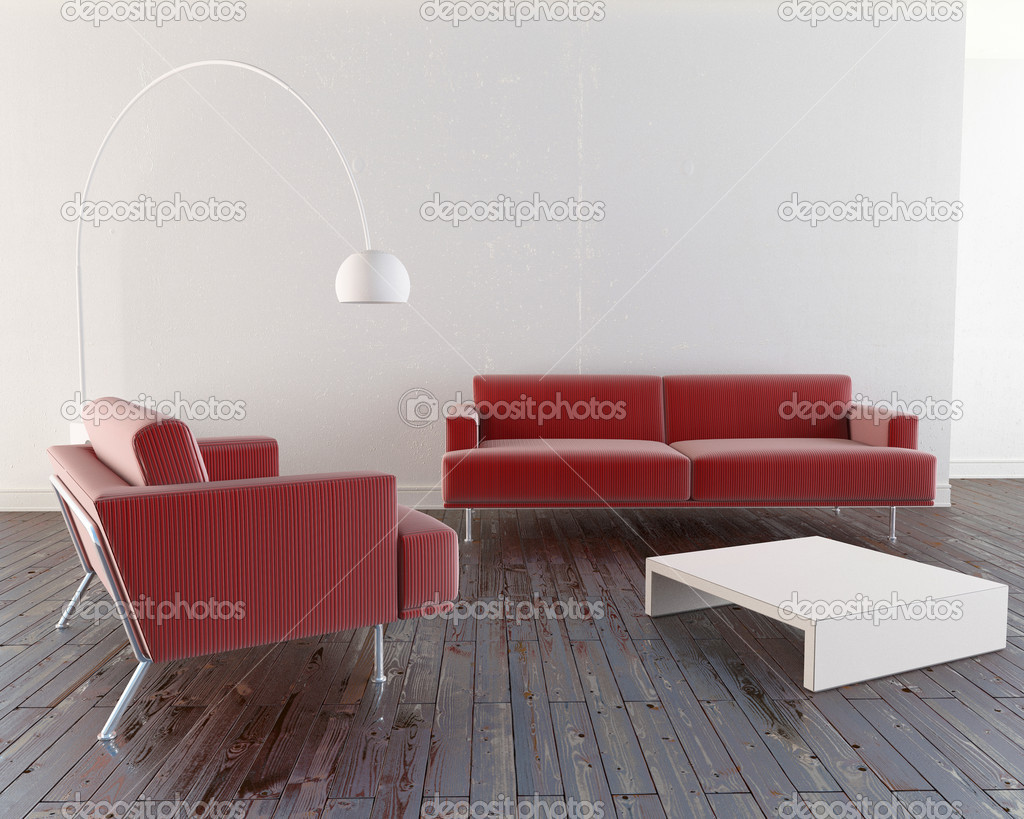 Modern and minimal furniture in luminous room — Stock Photo #3026526