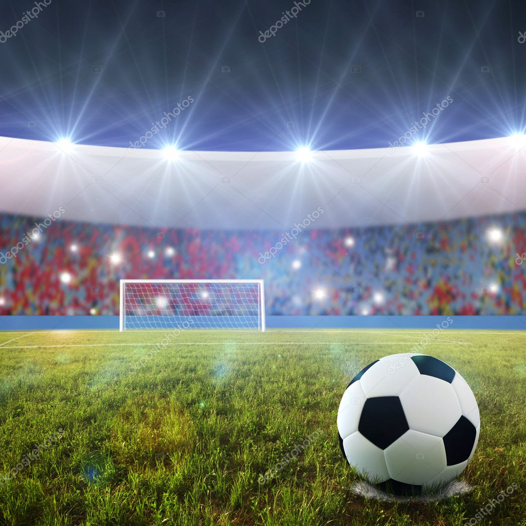 Soccer ball on penalty disk in the stadium  — Stock Photo #3242385