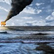 Oil platform explosion — Stock Photo