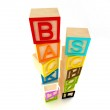 Back to school - wooden blocks letters — Stock Photo